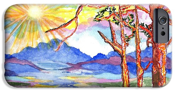 Sun Rays Paintings iPhone Cases - Color In The Country iPhone Case by Connie Valasco