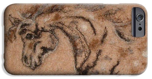 Needle Tapestries - Textiles iPhone Cases - Color Me Horse iPhone Case by Bonnie Nash