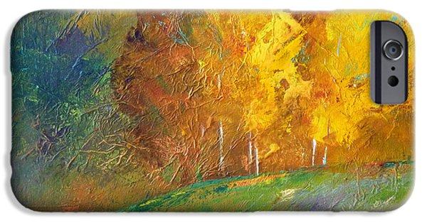 Park Scene Paintings iPhone Cases - Color iPhone Case by Nancy Merkle