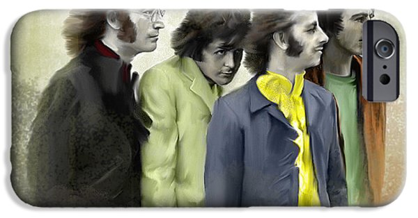 John Lennon Drawings iPhone Cases - Color White V The Beatles iPhone Case by Iconic Images Art Gallery David Pucciarelli
