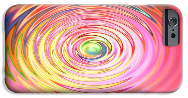 Circle Digital iPhone Cases - Color spin iPhone Case by Les Cunliffe