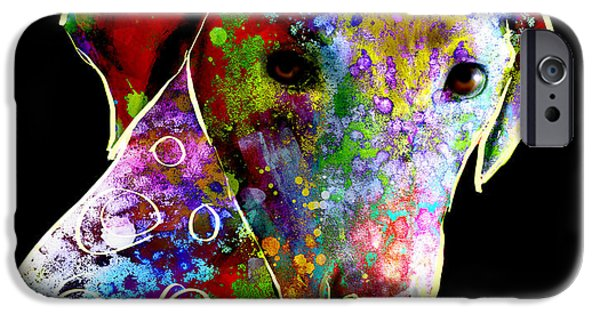 Dogs Digital Art iPhone Cases - Color Splash Abstract Dog Art  iPhone Case by Ann Powell
