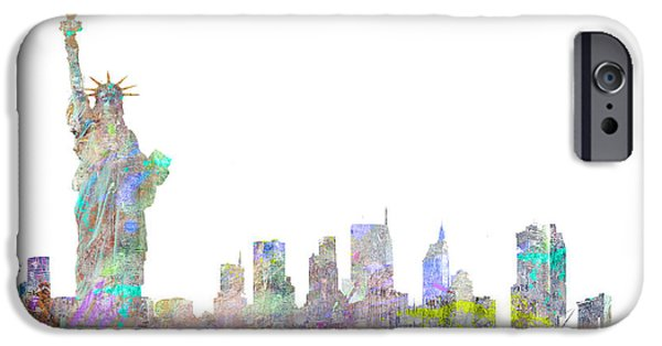 Brooklyn Bridge Digital Art iPhone Cases - Color Splash New York iPhone Case by Aimee Stewart