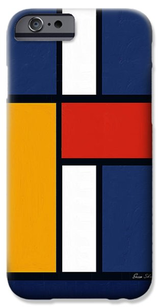 Neo-plasticism iPhone Cases - Color Squares - Mondrian Inspired iPhone Case by Enzie Shahmiri