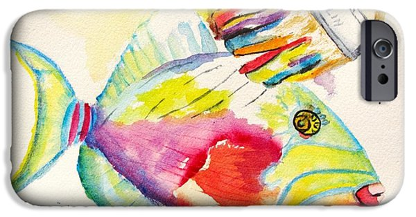 Triggerfish Paintings iPhone Cases - Color Transition - TriggerFish iPhone Case by Carlin Blahnik