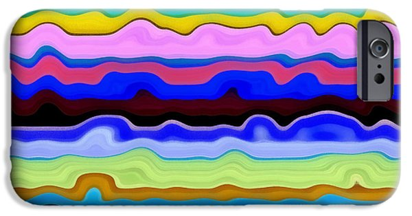 Textural iPhone Cases - Color Waves No. 4 iPhone Case by Michelle Calkins