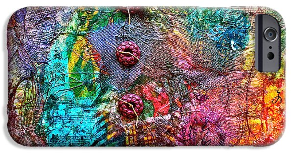 Fabric Mixed Media iPhone Cases - Color With Buttons iPhone Case by Bellesouth Studio