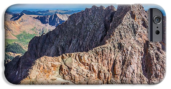 Infamous iPhone Cases - Colorado 14er Mt. Eolus and the Sidewalk in the Sky iPhone Case by Aaron Spong