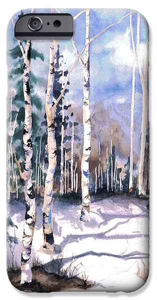 Snow Scene Paintings iPhone Cases - Colorado Aspens 2  iPhone Case by Barbara Jewell