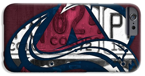 Colorado Mixed Media iPhone Cases - Colorado Avalanche Hockey Team Retro Logo Vintage Recycled Colorado License Plate Art iPhone Case by Design Turnpike