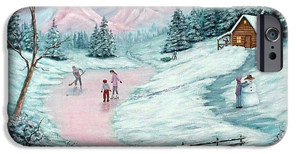 Hockey Paintings iPhone Cases - Colorado Christmas iPhone Case by Fran Brooks