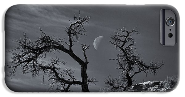 Tree Art Print iPhone Cases - Colorado National Monument Moonrise iPhone Case by Darren  White