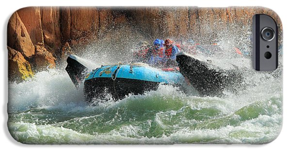 Splashy iPhone Cases - Colorado River Rafters iPhone Case by Inge Johnsson