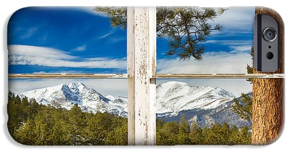 Corporate Art Photographs iPhone Cases - Colorado Rocky Mountain Rustic Window View iPhone Case by James BO  Insogna