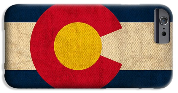 Flag iPhone Cases - Colorado State Flag Art on Worn Canvas iPhone Case by Design Turnpike