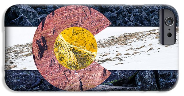 Recently Sold -  - Snowy iPhone Cases - Colorado State Flag with Mountain Textures iPhone Case by Aaron Spong