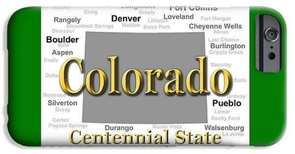 Fort Collins Digital Art iPhone Cases - Colorado State Pride Map Silhouette  iPhone Case by Keith Webber Jr