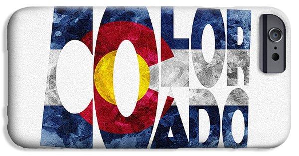 Original Watercolor iPhone Cases - Colorado Typographic Map Flag iPhone Case by Ayse Deniz