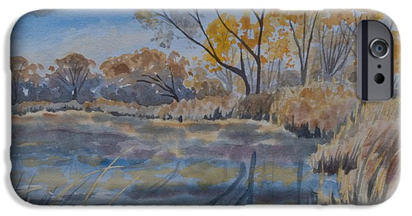 Willow Lake Paintings iPhone Cases - Original Watercolor - Colorado Urban Lake and Woodland iPhone Case by Cascade Colors