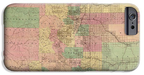 Colorado Drawings iPhone Cases - Colorado Vintage Antique Map iPhone Case by World Art Prints And Designs