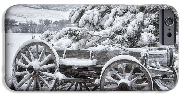 Winter Scene iPhone Cases - Colorado Wagon iPhone Case by Darren  White