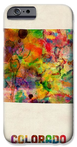 Geography iPhone Cases - Colorado Watercolor Map iPhone Case by Michael Tompsett
