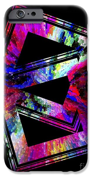 Transparency Geometric iPhone Cases - Colored Geometric Art iPhone Case by Mario  Perez