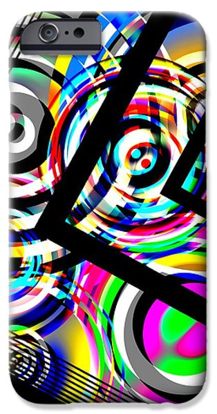 Transparency Geometric iPhone Cases - Colored Lines and Circles Art over Black iPhone Case by Mario  Perez