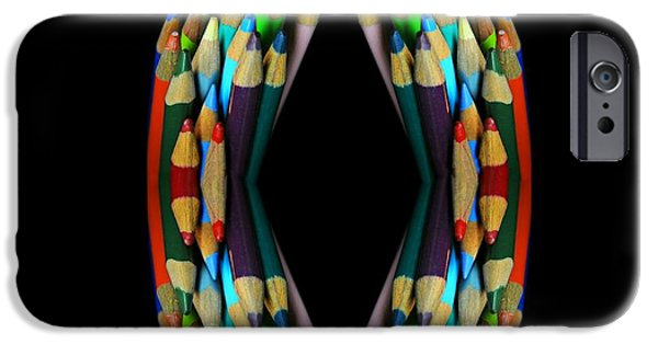 Colored Pencil Abstract iPhone Cases - Colored Pencil Abstract iPhone Case by Diana Angstadt
