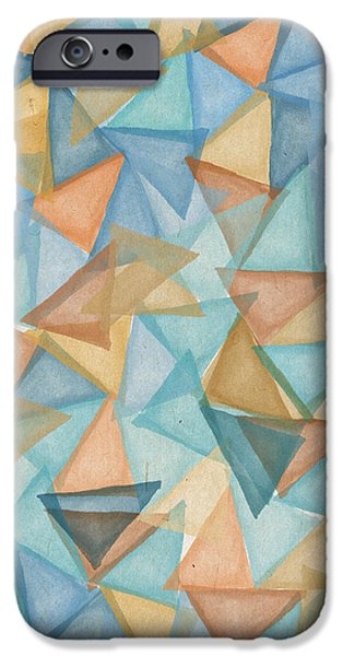 Pastel Colors iPhone Cases - Colored triangles iPhone Case by Aged Pixel