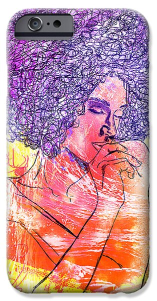 Kenal Louis iPhone Cases - Colored Woman iPhone Case by Kenal Louis