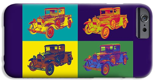 Model Digital Art iPhone Cases - Colorful 1930 Model A Ford Pickup Truck Pop Art iPhone Case by Keith Webber Jr