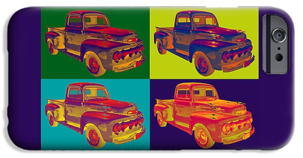 Classic F1 iPhone Cases - Colorful 1951 Ford F-1 Pickup Truck Pop Art  iPhone Case by Keith Webber Jr