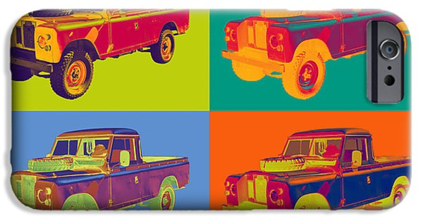 Warhol iPhone Cases - Colorful 1971 Land Rover Pick up Truck Pop Art iPhone Case by Keith Webber Jr