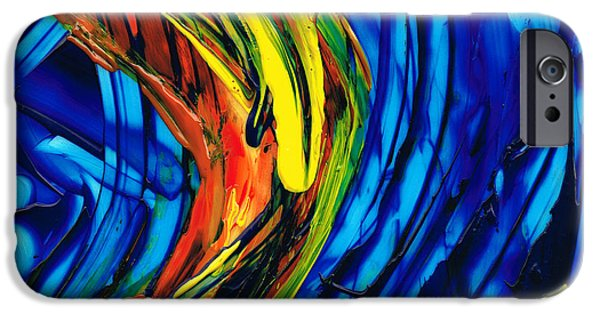 Blue And Red Paintings iPhone Cases - Colorful Abstract Art - Energy Flow 2 - By Sharon Cummings iPhone Case by Sharon Cummings