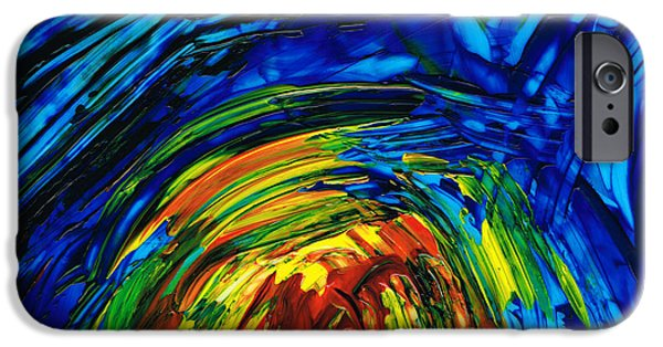 Blue And Red Paintings iPhone Cases - Colorful Abstract Art - Energy Flow 6 - By Sharon Cummings iPhone Case by Sharon Cummings