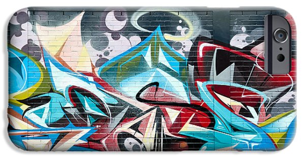 Recently Sold -  - Airbrush iPhone Cases - Colorful Abstract Graffiti Art on the brick wall iPhone Case by Yurix Sardinelly