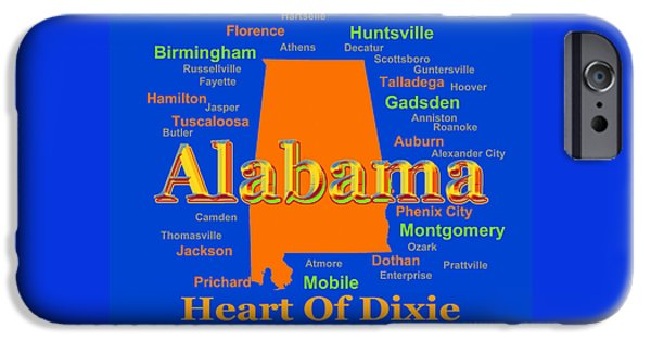 Enterprise iPhone Cases - Colorful Alabama State Pride Map Silhouette  iPhone Case by Keith Webber Jr