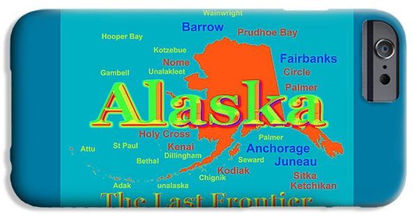 Kodiak iPhone Cases - Colorful Alaska State Pride Map Silhouette  iPhone Case by Keith Webber Jr