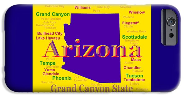 Grand Canyon Digital Art iPhone Cases - Colorful Arizona State Pride Map Silhouette  iPhone Case by Keith Webber Jr