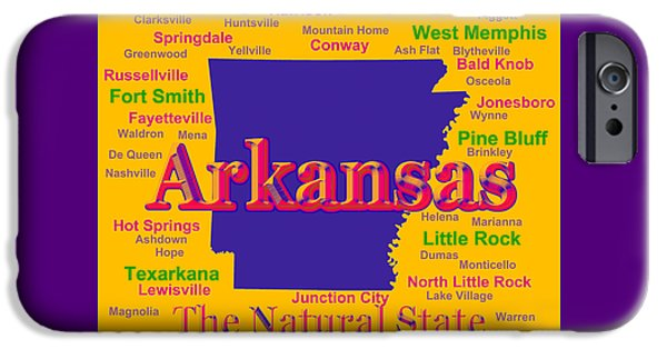 Arkansas iPhone Cases - Colorful Arkansas State Pride Map Silhouette  iPhone Case by Keith Webber Jr