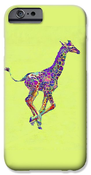 Giraffe Digital iPhone Cases - Colorful Baby Giraffe iPhone Case by Jane Schnetlage