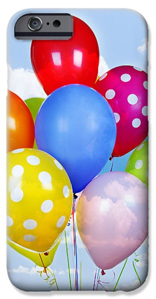 Colorful balloons with blue sky iPhone Case by Elena Elisseeva