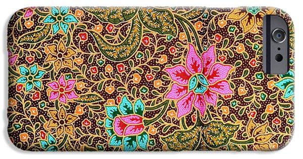 Macro Tapestries - Textiles iPhone Cases - Colorful batik cloth fabric background  iPhone Case by Prakasit Khuansuwan