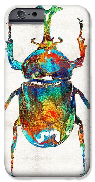 Ancient Paintings iPhone Cases - Colorful Beetle Art - Scarab Beauty - By Sharon Cummings iPhone Case by Sharon Cummings