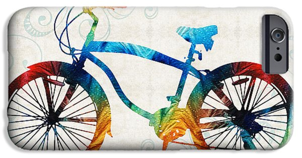 Kids Sports Art iPhone Cases - Colorful Bike Art - Free Spirit - By Sharon Cummings iPhone Case by Sharon Cummings