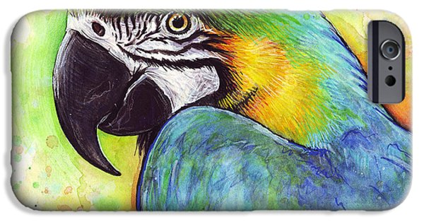 Colorful Birds iPhone Cases - Colorful Bird Macaw Parrot Painting iPhone Case by Olga Shvartsur