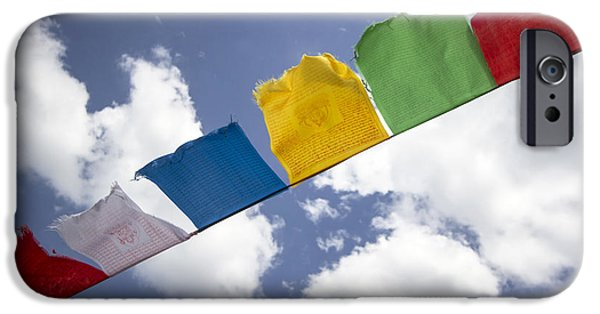 Buddhist iPhone Cases - Colorful buddhist flags  iPhone Case by IB Photo