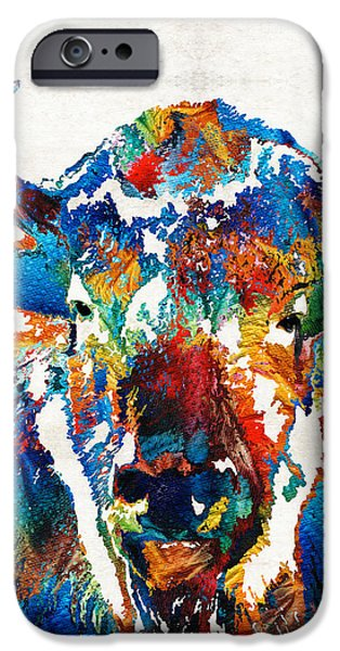 Wild Animals iPhone Cases - Colorful Buffalo Art - Sacred - By Sharon Cummings iPhone Case by Sharon Cummings
