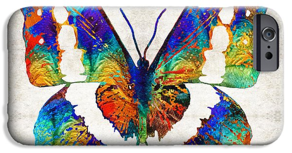 Freedom iPhone Cases - Colorful Butterfly Art by Sharon Cummings iPhone Case by Sharon Cummings